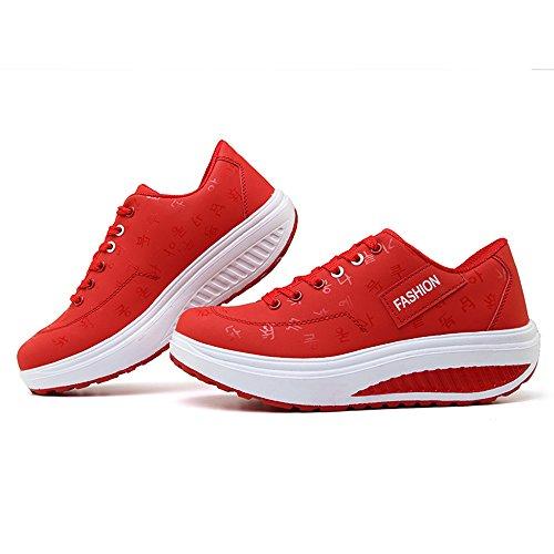 Ginnastica Sneakers Casual Tennis Heeled Rosso3 Zeppa da Sportive Running Scarpe Outdoor Piattaforma KUAIKUHEI Stringate Donna Fitness qB6wnUI1t