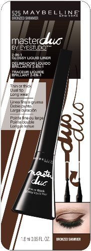 Maybelline New York Eye Studio Master Duo Glossy Liquid Liner, Bronzed Shimmer, 0.05 Fluid Ounce (Pack of 2)