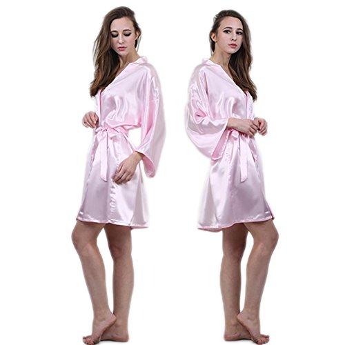 CHUNHUA La Sra seda de imitación albornoz del camisón de la manga del pijama chándal (color opcional) , blue , xxl Pink