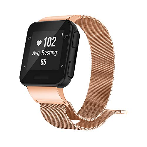 GELISHI Compatible with Garmin Forerunner 35 Watch Bands, Fashion Stainless Steel Milanese Bracelet Replacement Wristbands Strap for Garmin Forerunner 35 Watch - Rose Gold (No Tracker)
