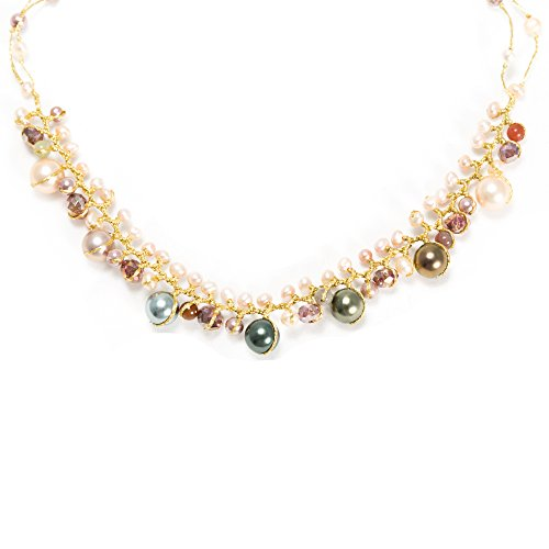 Handmade Natural Cultured Freshwater Pearl Crystal Beads Silk Thread Cluster Necklace 16