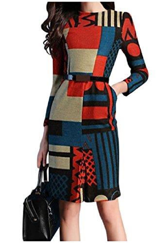 La Silm Des Femmes Coolred Adapter À Manches Longues Imprimé Robe De Soirée De Travail Fractionnées Élégante Comme Image