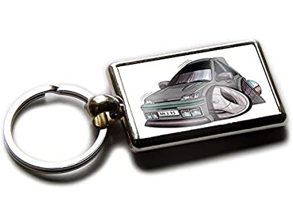 Koolart Cartoon Car Ford Fiesta RS Turbo Chrome Keyring Picture Both Sides (Grey)
