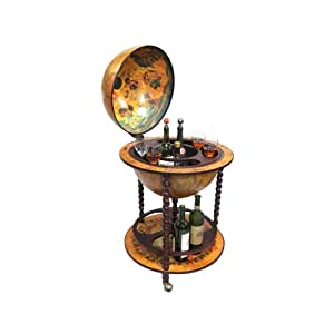 Merske 16th Century Italian Style Floor Globe Bar with Twisted Floor Stand, 22-Inch Diameter