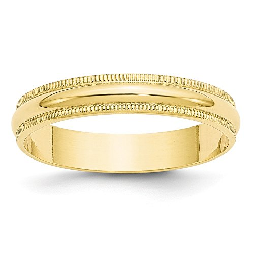 Solid 10k Yellow Gold 4mm Milgrain Half Round Wedding Band Size (Yellow Gold Milgrain Ring)
