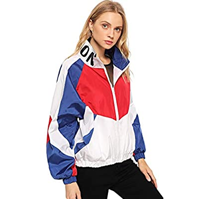 SweatyRocks Women's Lightweight Windbreaker Patchwork Zipper Sport Jacket Coat Outerwear: Clothing