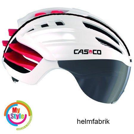 Casco Speedairo Rennradhelm weiss-rot Biese schwarz incl. Visier und Hardcase, Größe M (55-59cm)