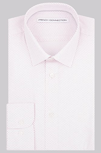 French Connection Slim Fit Rosa Knopfmanschette Geo Print Hemd 16½