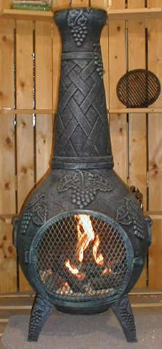 The Blue Rooster Co. Grape Cast Aluminum Wood Burning Chiminea in Green.