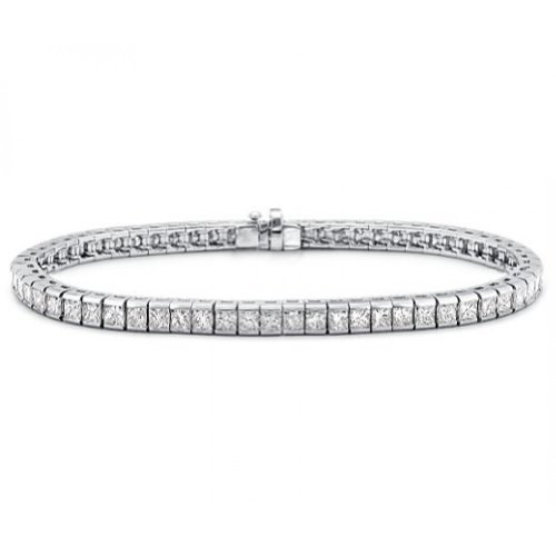 5.00 ct Ladies Princess Cut Diamond Tennis Bracelet In Channel Setting