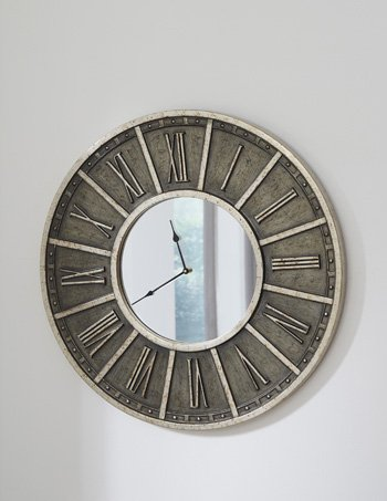 Signature Design by Ashley Peer Wall Clock Champagne/Black/Traditional