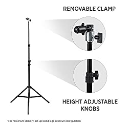 """Fovitec Studiopro - 1x 7'6"""" Pop Out Muslin Backdrop & Reflector Clip Stand - [Includes Light Stand & Clip][backgrounds Sold Separately] 1"""
