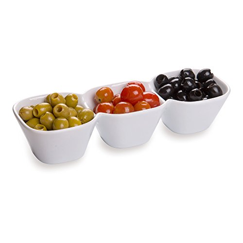 18 Ounce Triple Bowl Serving Dish, 1 Square Porcelain Condiment Tray – Serve Snacks, Dips, or Condiments, For Parties…