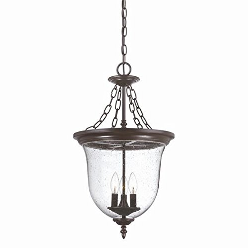 Outdoor Three Chain Light (Acclaim 9316ABZ Belle Collection 3-Light Outdoor Light Fixture Hanging Lantern, Architectural Bronze)