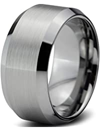 Tungsten Wedding Band Ring 10mm for Men Women Comfort Fit Beveled Edges Brushed Lifetime Guarantee