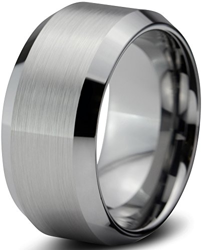 Tungsten CJ-202 10mm Unisex Wedding Band Ring  Comfort Fit Beveled with Brushed Edges,  10 - 10 Mm Band Ring