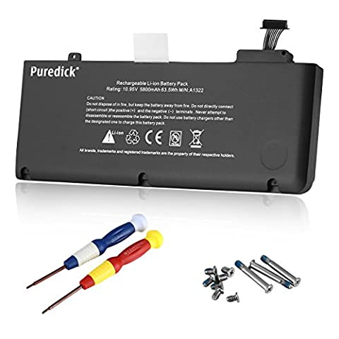 Puredick® High Performance New Laptop Battery for Apple A1322 A1278 (Mid 2009, Mid 2010, Early 2011,Mid 2012 Version) Unibody MacBook Pro 13'', fits 661-5557 661-5229 661-5391 020-6547-A 020-6764-A 020-6765-A MB990*/A MB990LL/A MB990J/A MB991LL/A MB990CH/A MB990TA/A MB990ZP/A MB991*/A MD101LL/A MC700LL/A MC374 3ICP5/69/71-2 +Two Free Screwdrivers - 12 Months Warranty [Li-Polymer 6-cell 10.95V (2009 Macbook Battery Unibody)