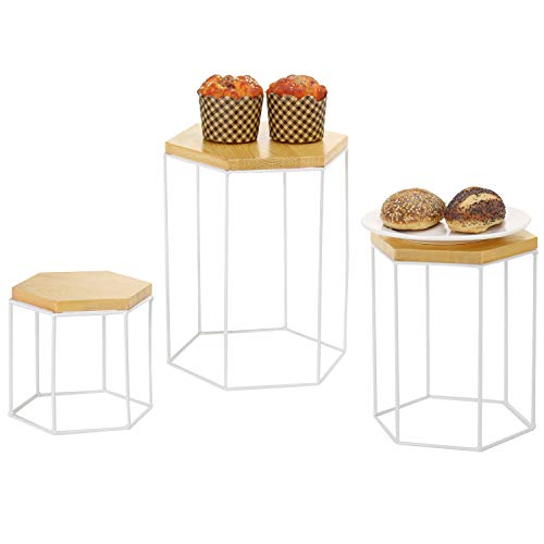 MyGift Hexagonal Bamboo & Metal Nesting Display Riser Stands, Set of 3