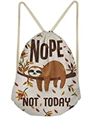 Xinind Sloth Printed Drawstring Bags Lightweight Casual Durable Backpacks Gym Bag for Teen Girls, Great Sloth Gifts for Girls