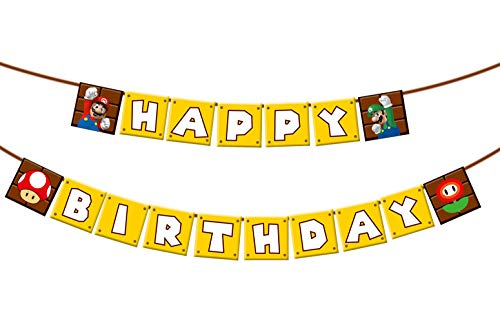 Super Mario Happy Birthday Banner Party Supplies For Kids and Adults Birthday Party Decorations Set of 1