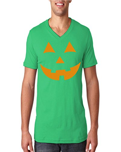 Hot Ass Mens Jack O' Lantern Pumpkin Holloween Costume V-neck Green XXLarge (Green Lantern Costume For Men)