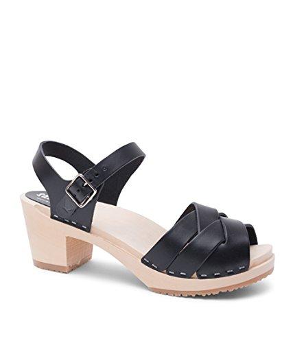 (Sandgrens Swedish High Heel Wood Clog Sandals for Women | Rio Grande Black, EU 36)