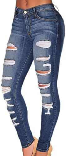 Sexy Women Ripped Denim Skinny Pants High Waist Jeans long Pencil Trousers