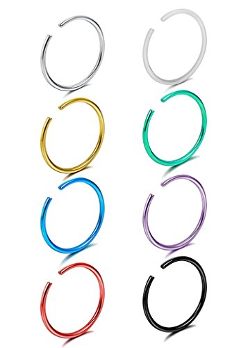 (BYO 8 Pcs 20G Stainless Steel Fake Clip On Closure Earrings Round Helix Cartilage Tragus Nose Lip Ear Hoop Colorful)