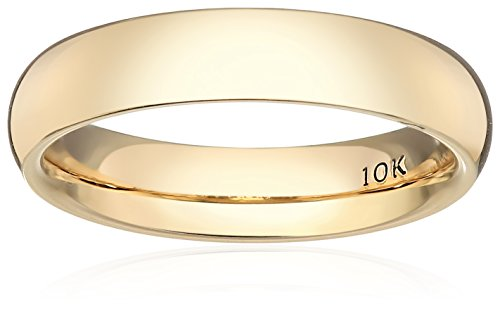 Standard Comfort-Fit 10K Yellow Gold Band, 4mm, Size 8 by Amazon Collection
