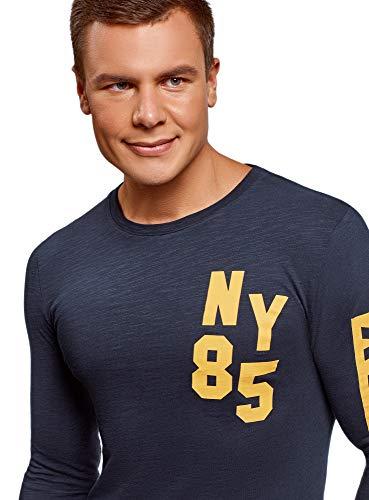 Imprimé Oodji En 7952p Coton Bleu shirt Sweat Avec Homme Ultra 44xqwS0