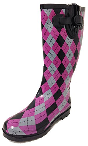 G4U Women's Rain Boots Multiple Styles Color Mid Calf Wellies Buckle Fashion Rubber Knee High Snow Shoes (7 B(M) US, Checker Argyle Plaid)