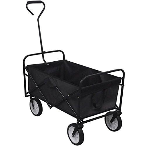 K Top Deal Foldable Garden Wheelbarrow Utility Cart, Trolley Trailer Steel Carrier, Black by K Top Deal