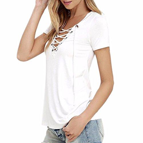 Collo Lace Sexy V T up A Donne Solido z Bianco Camicette Maniche Qiyun Magliette Colore Delle Corte Casuali wtEXgc
