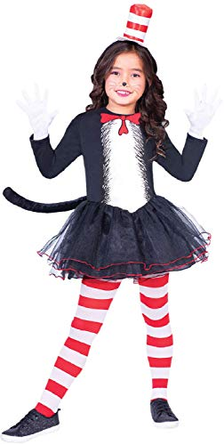 Girls Dr Seuss Cat In The Hat Tutu Skirt Dress World Book Day Week TV Book Film Carnival Animal Fancy Dress Costume Outfit 4-12 Years (10-12) years)]()