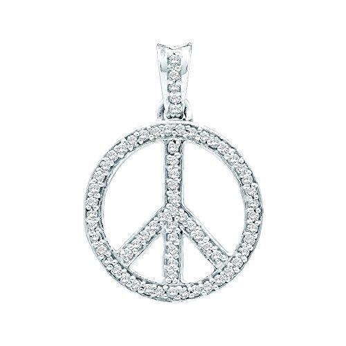 10K Yellow Gold Diamond Peace Sign Circle Necklace Pendant 1/4 Ctw.
