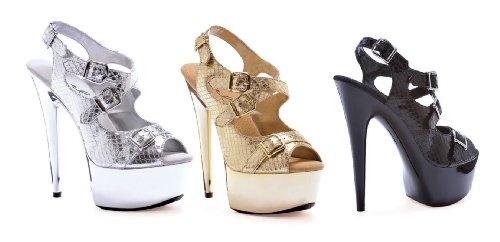 Ellie Womens Python-609 Platform Shoes Argento