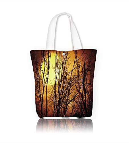Canvas Tote Bagsilhouette of a dead tree with dark sky Hanbag Women Shoulder Bag Fashion Tote Ba W16.5xH14xD7 INCH