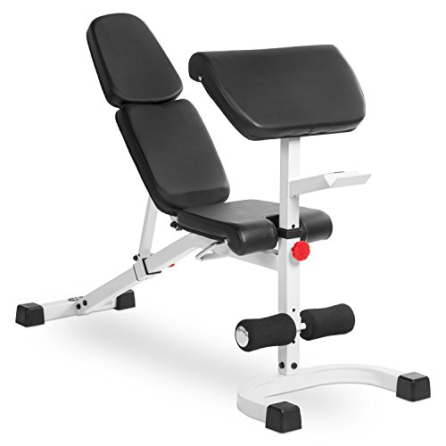 XMark FID Flat Incline Decline Weight Bench With Preacher Curl,  Adjustable Bench, Decline to Full Military Press Position, XM-4417 (White)