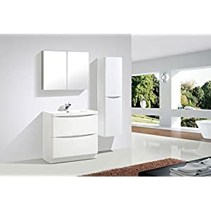 The Bath People Eaton Vanity Units – Bathroom Vanity Units – Bathroom Units – Floor 900mm – White Resin Basin