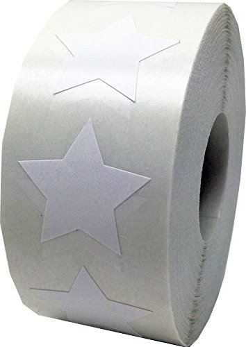 White Star Stickers, 1 Inch in Size, 500 Labels on a Roll