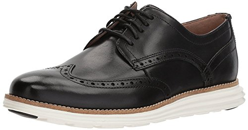 Cole Haan Men's Original Grand Shortwing Oxford Shoe, Black Leather/White, 11 Medium US by Cole Haan