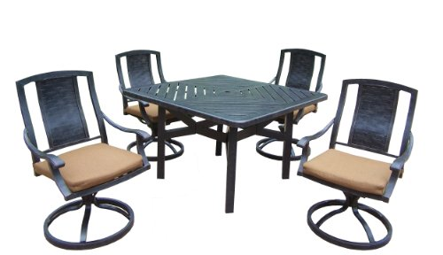 Oakland Living Vanguard 5-Piece Furniture Set with 48 by 48-Inch Square Table and 4 Sunbrella Cushioned Swivel Rockers For Sale