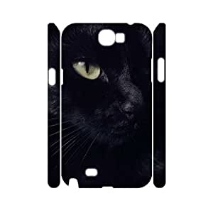 Black Cat CUSTOM 3D Cover Case for Samsung Galaxy Note 2 N7100 LMc-57968 at LaiMc