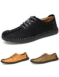 ZIITOP Suede Casual Shoes Men\'s British Style Handmade Leather Oxford Shoes Flats Lace-up Zapatos Flats Tenis(Black,US6.5)