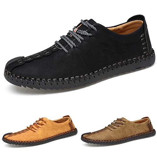 Men's Suede Casual Shoes Leather Oxford Shoes British Style Handmade Lace up Loafers Flats Sneakers Black Brown Yellow … (45 M EU / 10.5 D(M) US, Black) ()