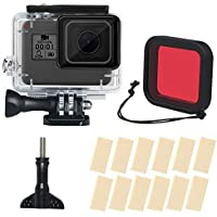TERSELY Housing Case with Red Filter, 17in1 Anti-Fog Inserts Strip for GoPro Hero 2018 7 Black /6/5, Waterproof Case Diving Protective Shell 45m Bracket Accessories for Go Pro Hero7 Hero6 Hero5