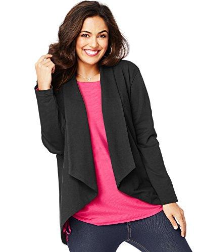 Just My Size Women's Plus Size French Terry Flyaway Cardigan, Black, 2X