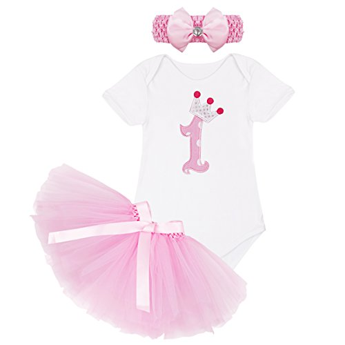 ACSUSS Baby Girls First 2nd Birthday Party Short Sleeve Bodysuit with Tutu Skirt Headband Outfits White D 3-6 Months ()