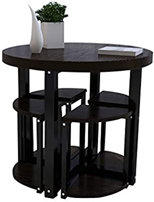XIA Conjunto de Mesa de Comedor y 4 taburetes Conjunto de Mesa Redonda de Ocio y Taburete Restaurante Sala de Estar Corredor Exterior 4 Colores (Color : B, Tamaño : D60cm): Amazon.es: Hogar