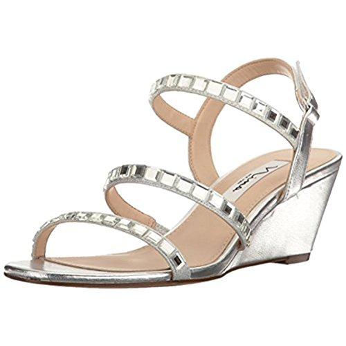 Nina Womens Slingback Shoes - Nina Women's Naleigh Wedge Sandal, FY-a-Silver, 6 M US